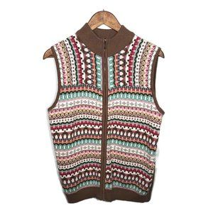 Alfred Dunner Pink Tan Tribal Print Sweater Vest S